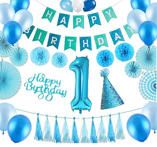 LetsParty 1st Birthday Blue Decoration Set for Boy Kid,Personalised and Premium Quality.Includes Blue SEQUINED CAP and Blue CAKE INSERT. Pom Poms,Balloons,Paper Fans,Durable and Elegant DIY set for $<!--$19.49-->