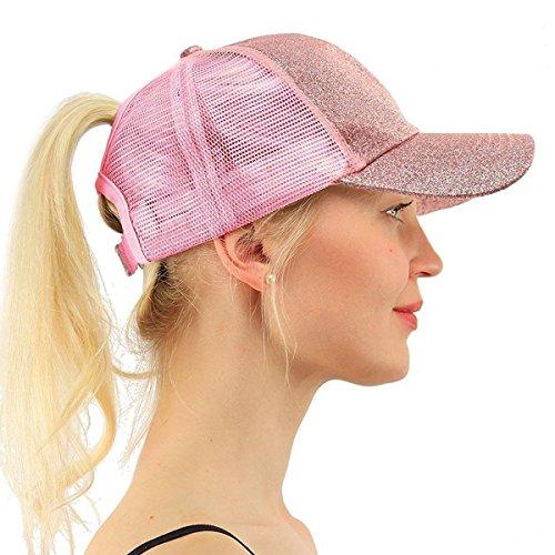 ATIMIGO Trend Glitter Baseball Cap for High Ponytail Women's Messy Bun Trucker Baseball Sun Hat Special for Women Girl ()
