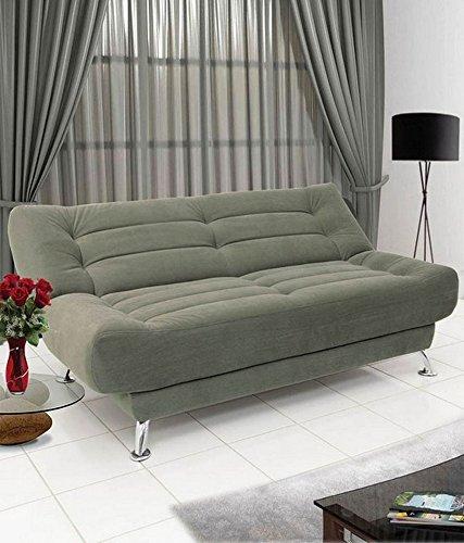 FabHomeDecor Zuri Supersoft Three Seater Sofa Cum Bed  Khaki Green