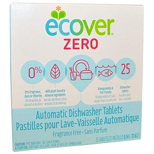 Dishwashing Automatic Ecover Tablets (Ecover Ecover Zero 0% Automatic Dishwasher Tablets 25 tablets Natural Dishwashing Products - 3PC)