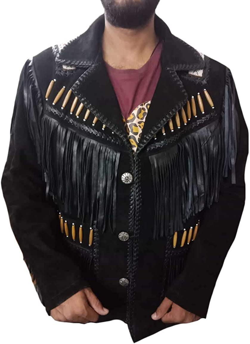 Stormwise Mens Western Suede Leather Cowboy Jacket with Fringes Beads /& Bones