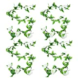 4 Pack 78ft Artificial Rose Vines with Green Leaves Fake Flowers Plants Hanging Garden Vine Garland for Wedding Home Party Decor Rustic Craft Supplies (White)