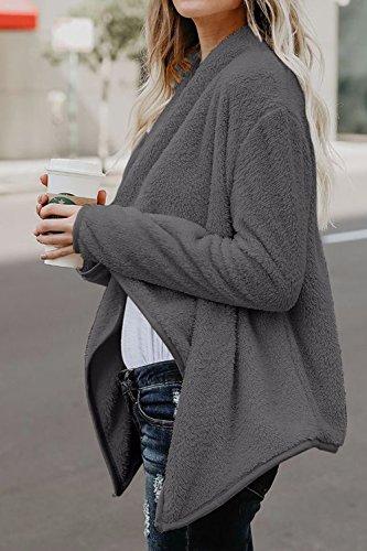 Collar Irregular Down Chaqueta Frente Invierno Externa De Lana Casual Grey La Capa Mujer Abierto Turn Cardigan nzXq7T7