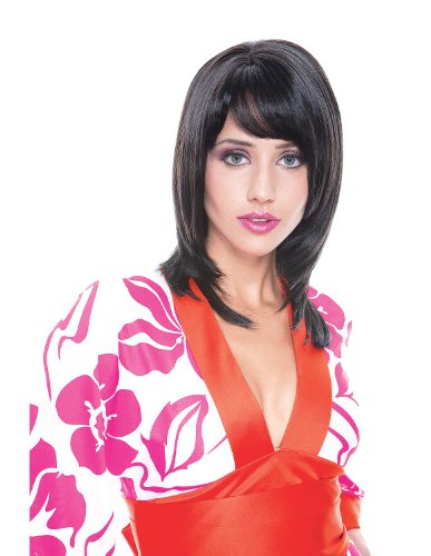 [Paper Magic Women's French Kiss Jasmine Wig, Black, One Size] (French Kiss Costume)