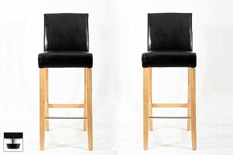Heusa tech 2x sgabello da bar legno nero finta pelle scivoli