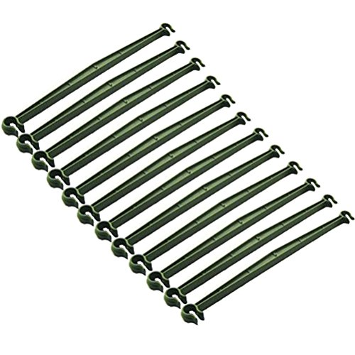 Amgate 12 Pcs Stake Arms for Tomato Cage, 11.8 Inches Expandable Trellis Connectors for Any 11mm Diameter Plant Stakes, 2 Buckle ()