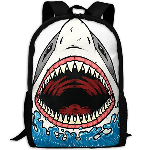 Big Mouth Shark.png Unisex Classic Briefcase Laptop Travel Hiking Backpack School Multipurpose Bags Stylish Durable Daypacks Frame Png Christmas