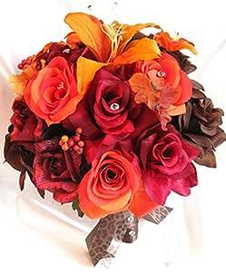 wedding bouquets bridal silk flower burgundy burnt orange lily brown fall 17 pcs. Black Bedroom Furniture Sets. Home Design Ideas
