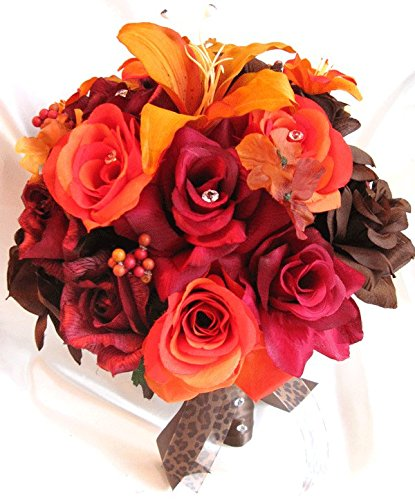 Wedding bouquets Bridal Silk flower BURGUNDY Burnt ORANGE Lily BROWN Fall 17 pcs package Artificial bouquet boutonnieres