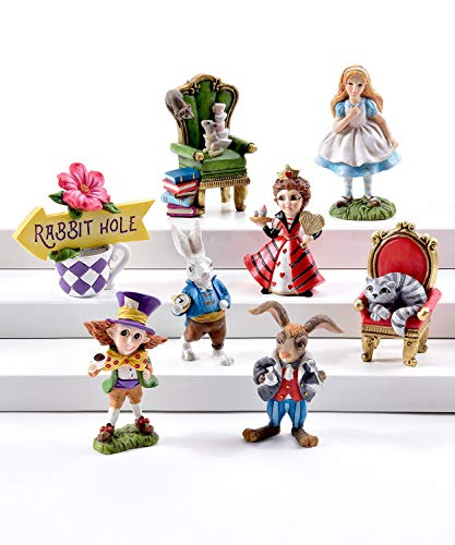 (ShopForAllYou Figurines and Statues Fairy Garden Fun Miniature Dollhouse Alice in Wonderland Set 8 Pieces Christmas)