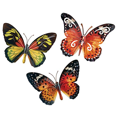 Collections Etc Butterfly Wall Art 3D Metal Décor Set - 3pc. Set