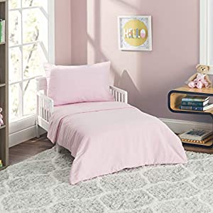 EVERYDAY KIDS 4 Piece Toddler Bedding Set - Includes Comforter, Flat Sheet, Fitted Sheet and Reversible Pillowcase - Solid Pink 11
