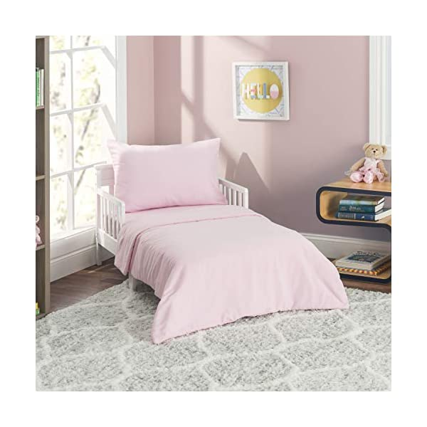 EVERYDAY KIDS 4 Piece Toddler Bedding Set - Includes Comforter, Flat Sheet, Fitted Sheet and Reversible Pillowcase - Solid Pink 1