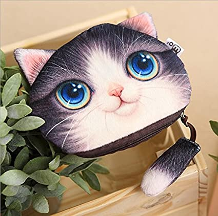 13,5 * 15.5 cm Cute Cat Face Cartera Tarjeta Keys Bolsa
