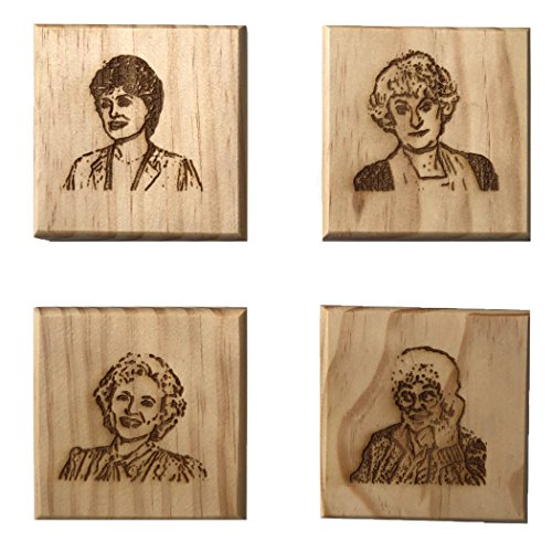 Dorothy Silhouette - Golden Girls Coasters (by Brindle Designs): Permanent Engraved Gift Set of 4 Coasters for Golden Girls Fan - Rose, Sophia, Blanche, Dorothy Silhouettes