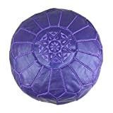 "Lia&Mia House Pouf Ottomans 23"" (Purple) Moroccan Handmade Leather"