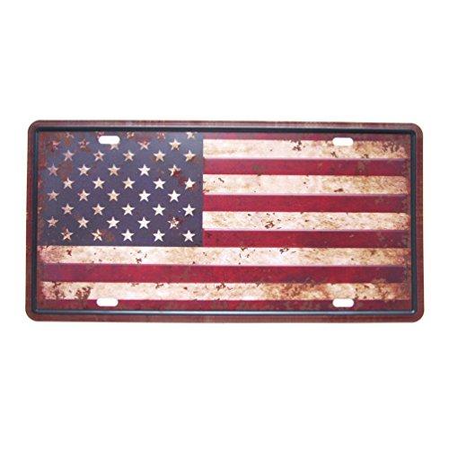 (Favorict Distressed US Flag License Plate American Flag License Plate Souvenir 12