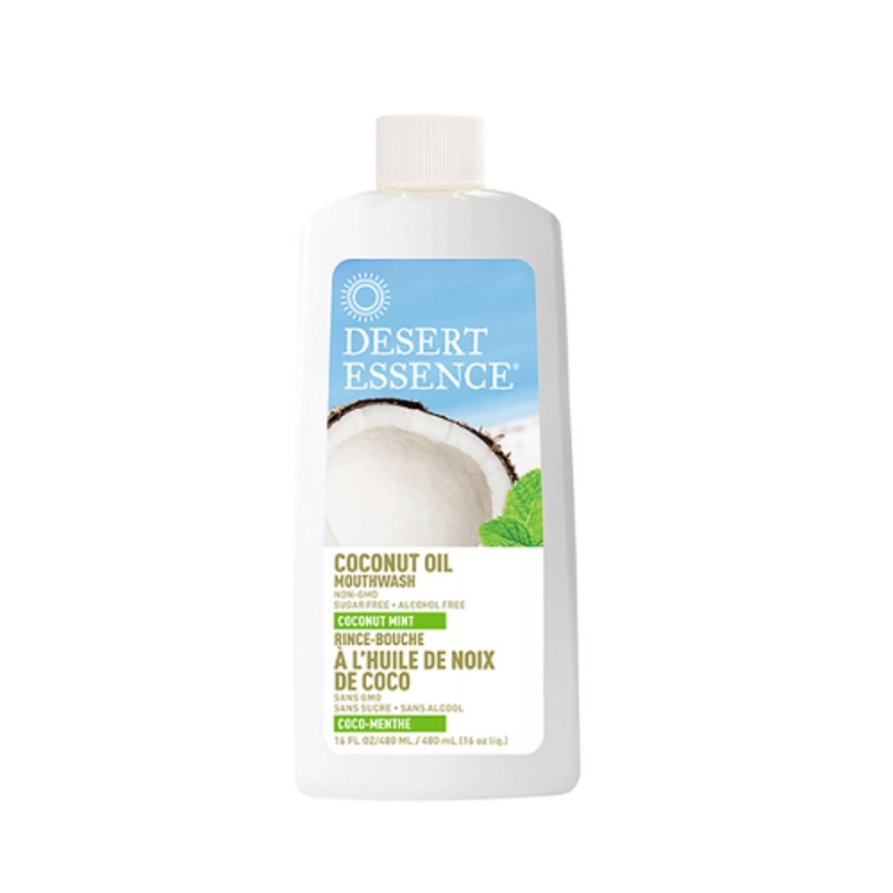 Desert Essence Coconut Oil Mouthwash - Coconut Mint - 16 Fl Oz - Complete Oral Care - Refreshes Breathe - Virgin Coconut & Natural Mind Oil - Gum Health - Aloe Vera - Peppermint