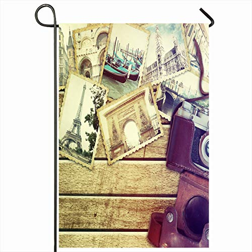 Ahawoso Garden Flag 12x18 Inches Camera Board Brown Paris Vintage Travel Old Italy Cardboard Gallery Photography Album Journey Retro Decorative Seasonal Double Sided Home House Outdoor Yard Sign