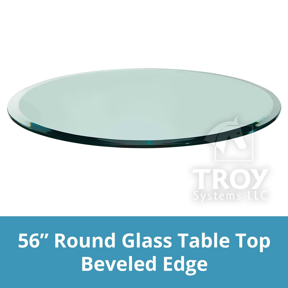 TroySys Tempered Glass Table Top, 3/8 Inch Thick, Beveled Edge, Round, 56'' L