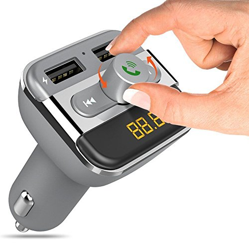 Bluetooth FM Transmitter for Car, iPhone Radio Transmitter, Car Bluetooth Cassette Adapter Car Kit with Hands Free Calling 2 Ports USB Charger AUX Input Output, SD Card MP3 Player