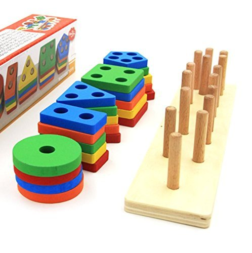 Revanak Wooden Educational Preschool Toddler Toys for 1 2 3 4-5 Year Old Boys Girls Shape Color Recognition Geometric Board Blocks Stack Sort Chunky Puzzles Kids Children Baby NON-TOXIC Toy by by Revanak (Image #3)