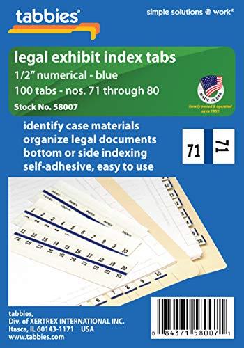 - Tabbies Legal 58007 Numerical Exhibit Index Tabs, Blue Color Edge, 1/2