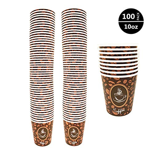 100 Pack Quality Disposable Paper Hot Coffee Cups, Perfect For Hot Drinks Tea & Coffee, Coffee Shops And Bars (10 oz, Coffee Bean Design Hot Cup)
