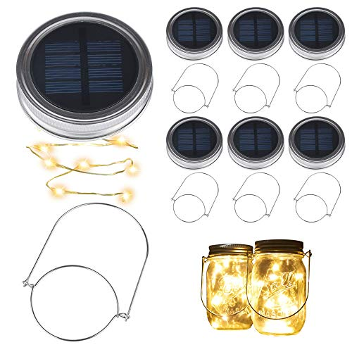 BizoeRade Solar Mason Jar Lights, Dual Row Solar Powered 10 LED Fairy Firefly String Lights(6 Pack Lid Lights and 6 Hangers Included),Fit Regular Mouth Mason Jars for Outdoor Decoration -Warm White -