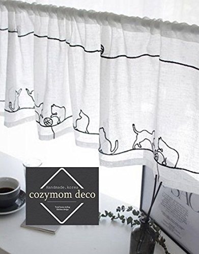"""Cozymom """"Cat pattern embroidery"""" Handmade Natural Cotton Cafe Curtain, Kitchen Curtain Valances, European Rural Fashion Window Curtain for Home, One Piece 37(w)x135(l)cm-White color"""
