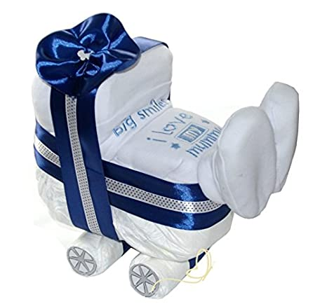 Tarta Pañales Pañales carro Azul para niño - Babero - Regalo de cigüeña Baby Regalos de felicitación de nacimiento Talla:3 tlg Geschenkset: Amazon.es: Bebé