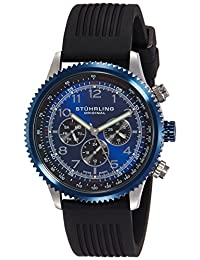 Stuhrling Original Men's 858R.01 Octane Concorso Silhouette Sport Swiss Quartz Day and Date Blue Bezel Watch with Tachymeter