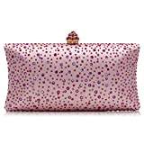 Women Handbags Rhinestone Party Prom Wedding Bride Evening Bags Crystal Party Clutches Bag (Hot pink)