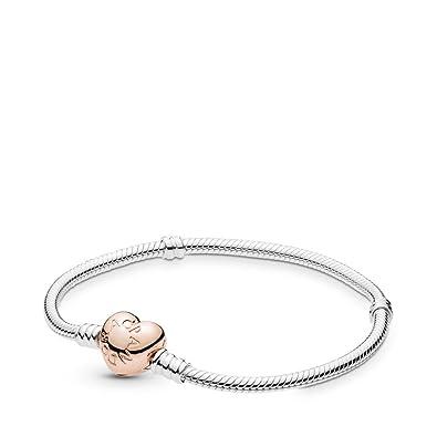 a07f3c534 Amazon.com: Pandora Sterling Silver Bracelet Rose Heart Clasp, 7.5 in:  Jewelry