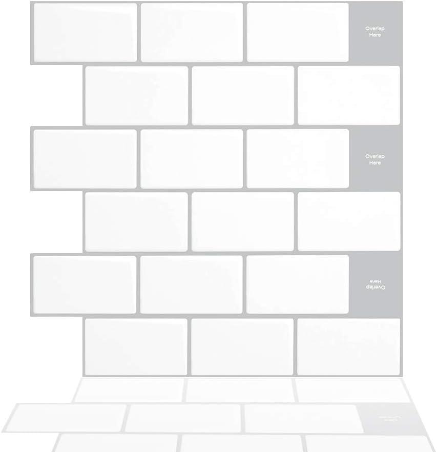 Tic Tac Tiles® Premium 3D Peel /& Stick Wall  Polito-Black/& White BRS-13- 10TILE