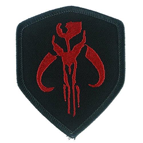 [Iron Sew On Applique Patch : Star Wars Mandalorian Bantha Skull Mercenary (Black/Red)] (Diy Rogue Costume)