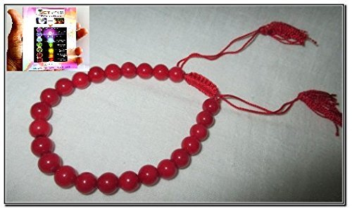 Red Coral Bracelet Draw String Crystal A++ Gemstone Semiprecious Natural Genuine Healing Energy Metaphysical India Asia Confidence Progress Strength Prosperity Peace ()