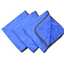"""Microfiber Car Cleaning Cloths 400gsm Tow Different Sides for Cleaning Polishing 3-pack (16""""x16"""", Bluex3)"""