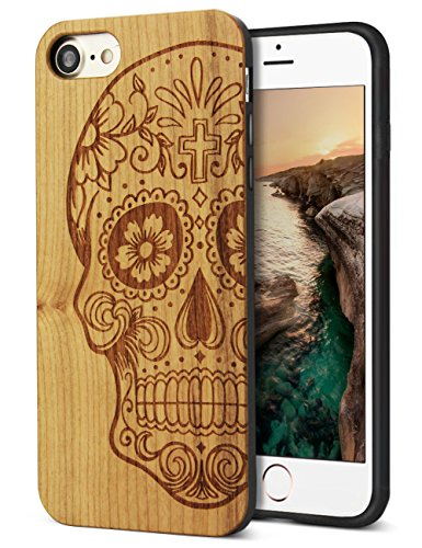 YFWOOD for iPhone 8 Wood Case,iPhone 7 Case,Real Handmade Wood Carving Skull Design Slim fit Shock-Absorbing Protective Cover for iPhone 7,iPhone (Skull Design Cover Case)