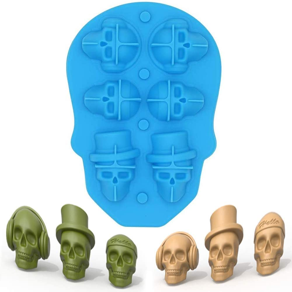 3D Skull Ice Mold Tray- Food Grade Silicone Ice Trays Ice Cubes Maker with Lids Reusable Durable and BPA Free, Makes 6 Cute Skulls in 1 for Whiskey, Cocktails, Vodka and Juice Beverages (Blue)