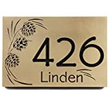 Pine Cone Address Plaque 12x8 - Recessed Brass Coated