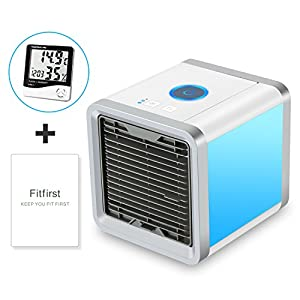 Fitfirst Personal Space Air Cooler, 3 in 1 USB Mini Portable Air Conditioner, Humidifier, Purifier, 7 Colors Nightstand, Desktop Cooling Fan for Office Home Outdoor Travel(Thermo-hygrometer Included)