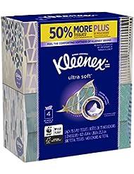 Kleenex Ultra Soft Facial Tissues, Cube Box, 75 Tissues per Cube Box, 4 Packs