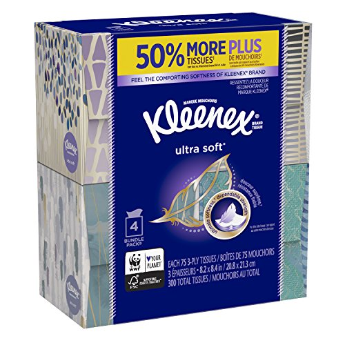 Kleenex Ultra Soft Facial Tissues, Cube Box, 75 Tissues per Cube Box, 4 -