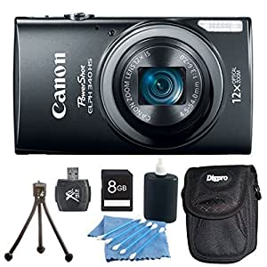 Canon PowerShot ELPH 340 HS 16MP 12x Zoom 3-inch LCD Camera Bundle includes: Camera, Mini Tripod, Carrying Case, 8GB Memory Card, Lens Cleaning Kit, Hi-Speed SD USB 2.0 Card Reader