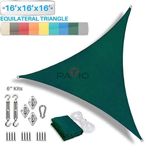 Patio Paradise 16 x 16 x 16 Sun Shade Sail with 6 inch Hardware Kit, Green Equilateral Triangle Canopy Durable Shade Fabric Outdoor UV Shelter – 3 Year Warranty – Custom