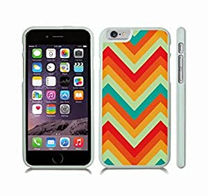 iStar Cases? iPhone 6 Case with 70s Era Multicolor Chevron Zig Zag Pattern Design , Snap-on Cover, Hard Carrying Case (White)