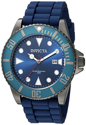 Invicta Men's 'Pro Diver' Quartz Stainless Steel and Silicone Casual Watch, Color:Blue (Model: 90306)