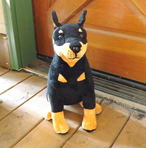 "This Place is a Zoo Doberman Pinscher Stuffed Dog - 16"" Plush Toy Doberman"