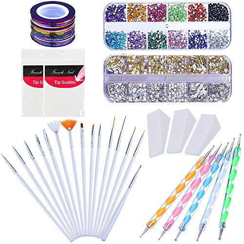 (Kyerivs Nail Art Set Rhinestones Decoration 15pcs Nail Brush 12 Colors Nail Rhinestones 10pcs Colors Rolls Striping Tape Line Nail Sponge Dotting Marbleizing Pen for Pedicure and Nail Art Stickers)